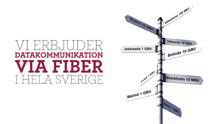 Vi erbjuder datakommunikation via fiber i hela Sverige